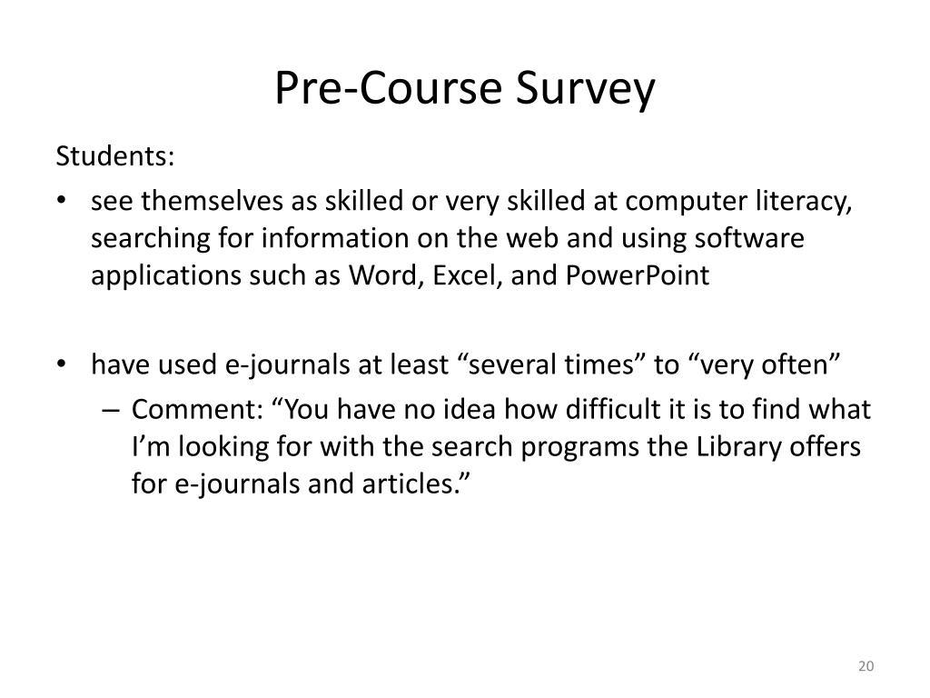 Pre-Course Survey