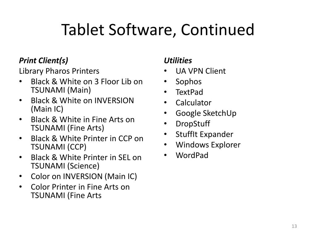 Tablet Software, Continued