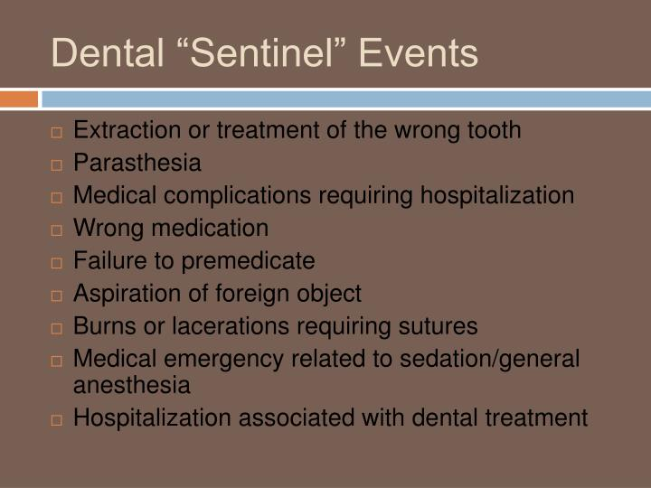 "Dental ""Sentinel"" Events"