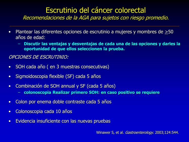 Escrutinio del cáncer colorectal