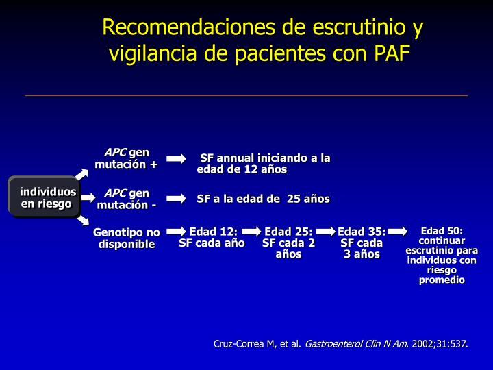Recomendaciones de escrutinio y vigilancia de pacientes con PAF