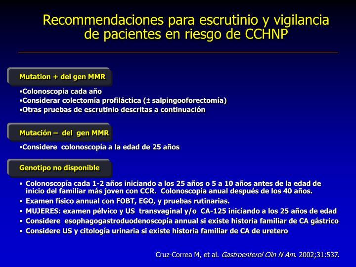 Recommendaciones para escrutinio y vigilancia de pacientes en riesgo de CCHNP