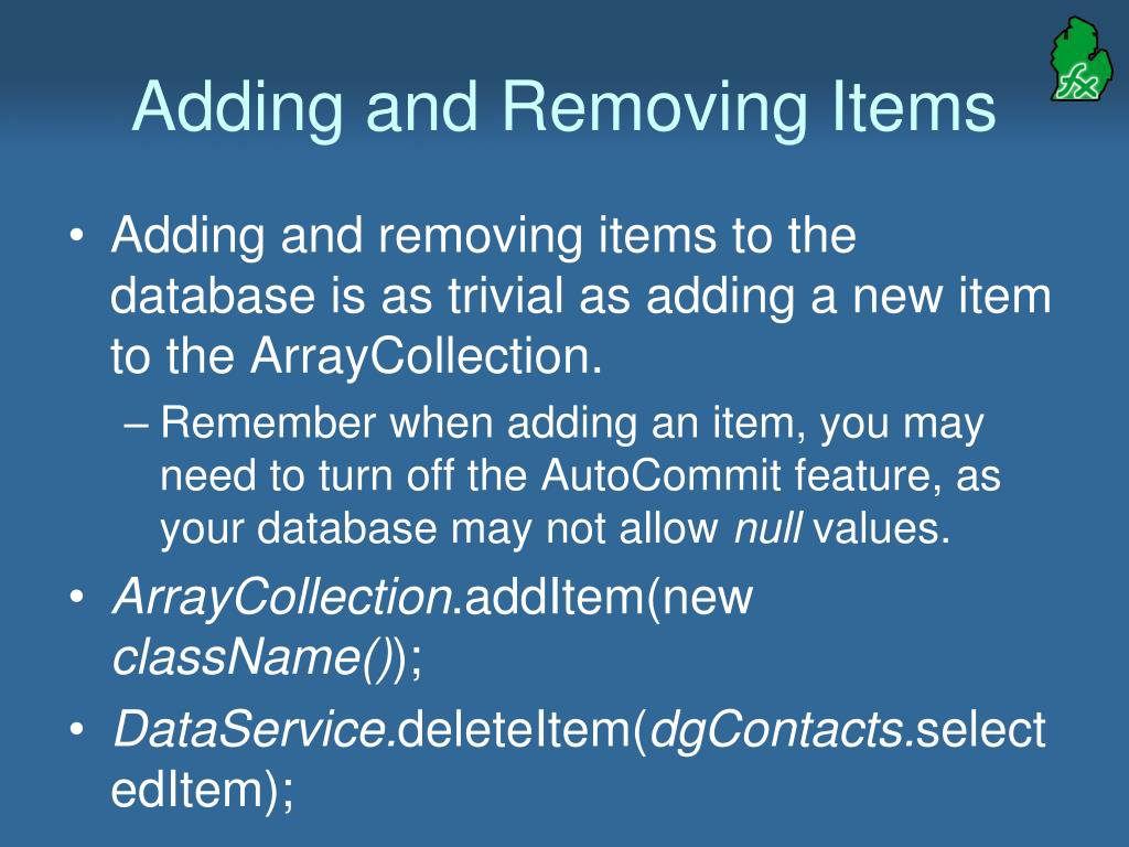 Adding and Removing Items