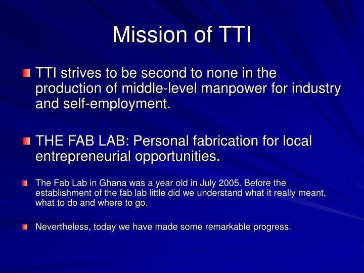 Mission of TTI