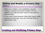 creating and modifying primary keys20