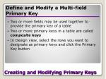 creating and modifying primary keys21