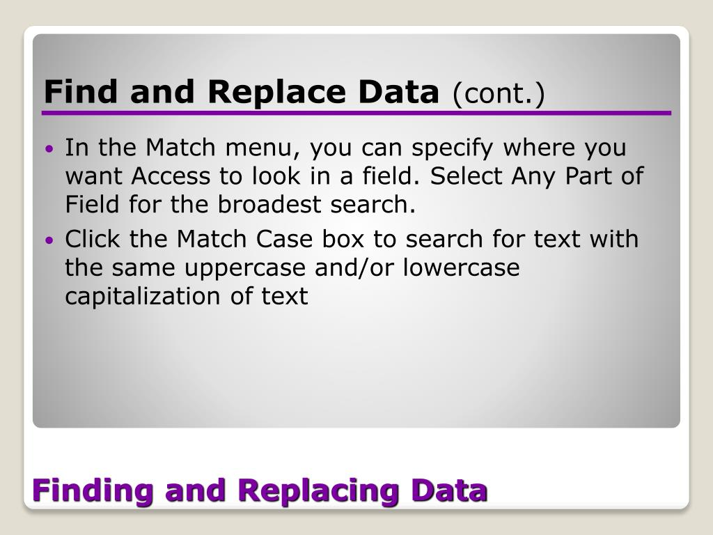 Finding and Replacing Data