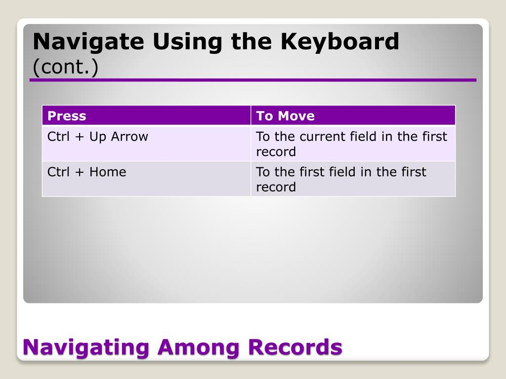 Navigate Using the Keyboard