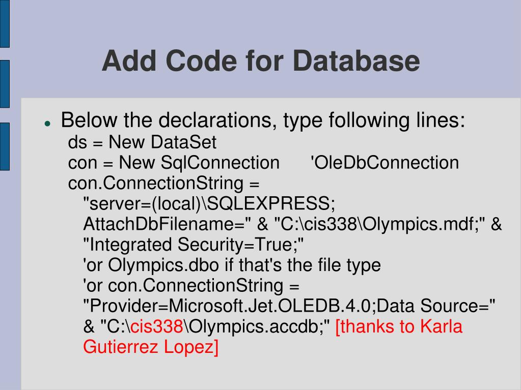 Add Code for Database