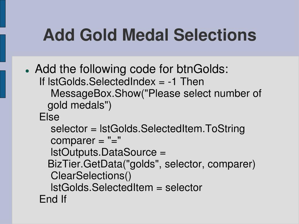 Add Gold Medal Selections