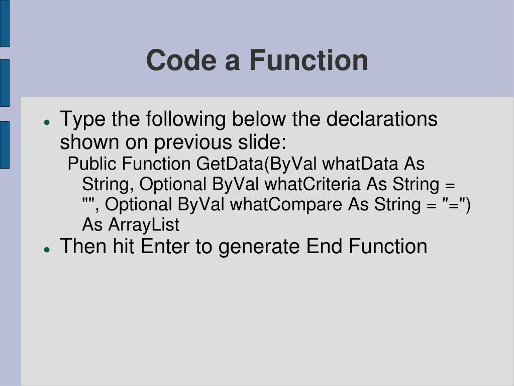 Code a Function
