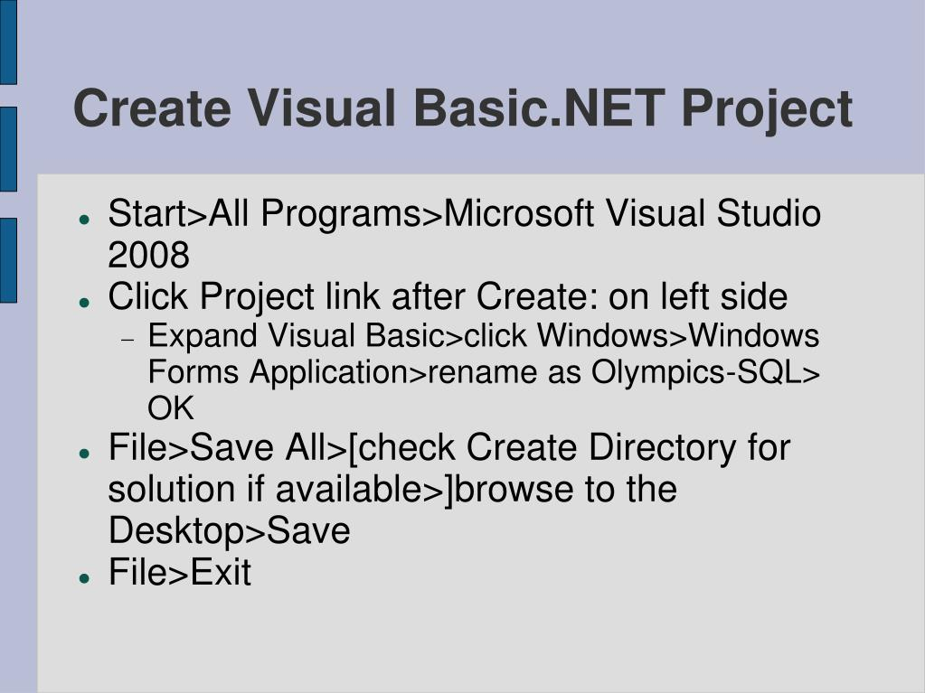 Create Visual Basic.NET Project