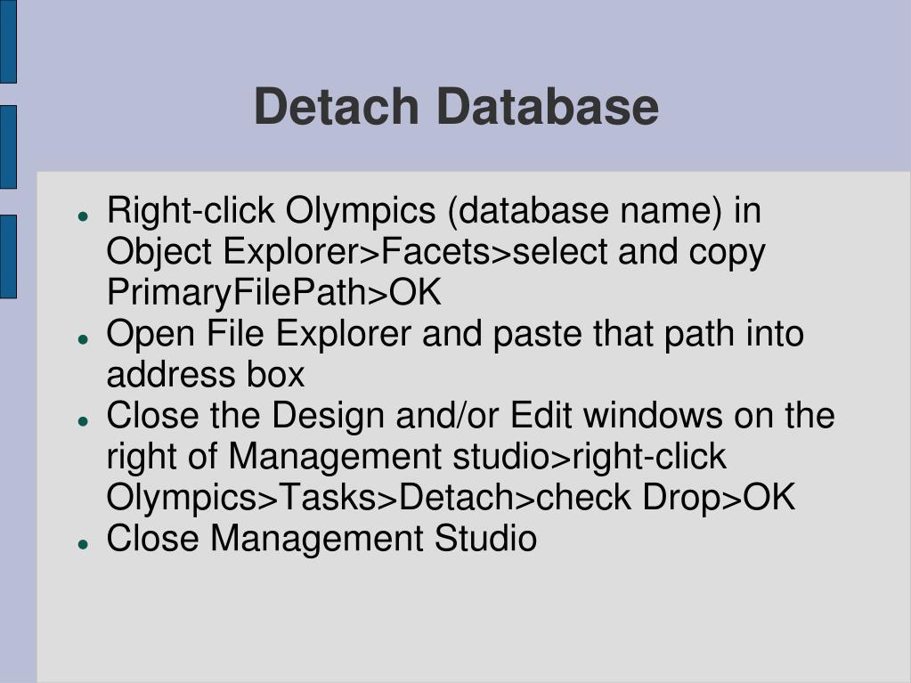 Detach Database