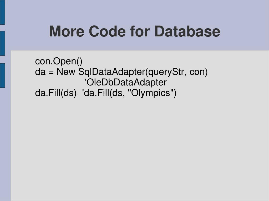 More Code for Database