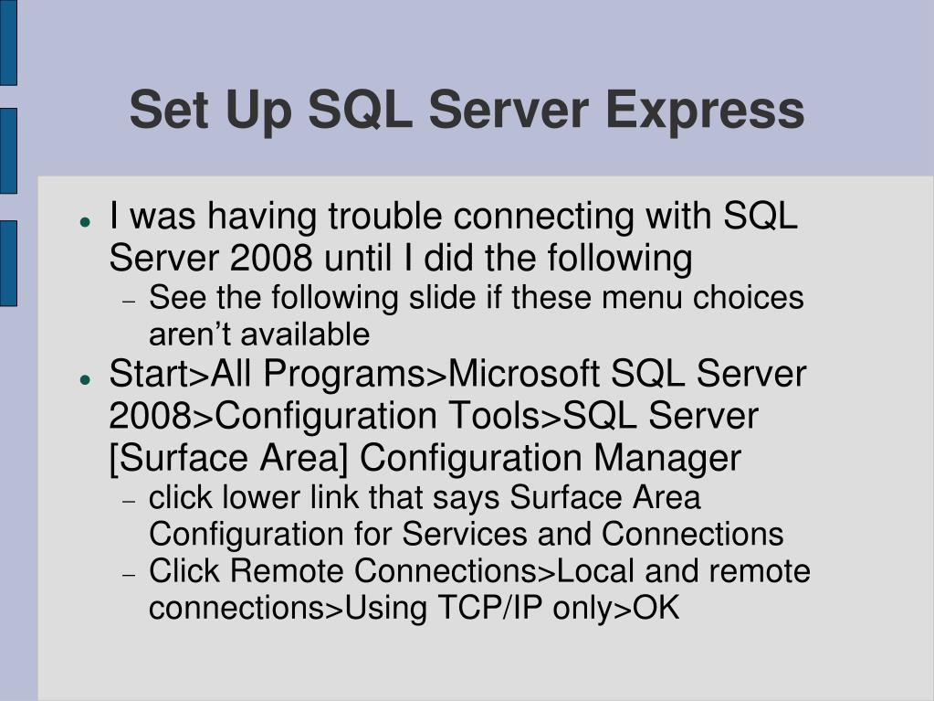 Set Up SQL Server Express