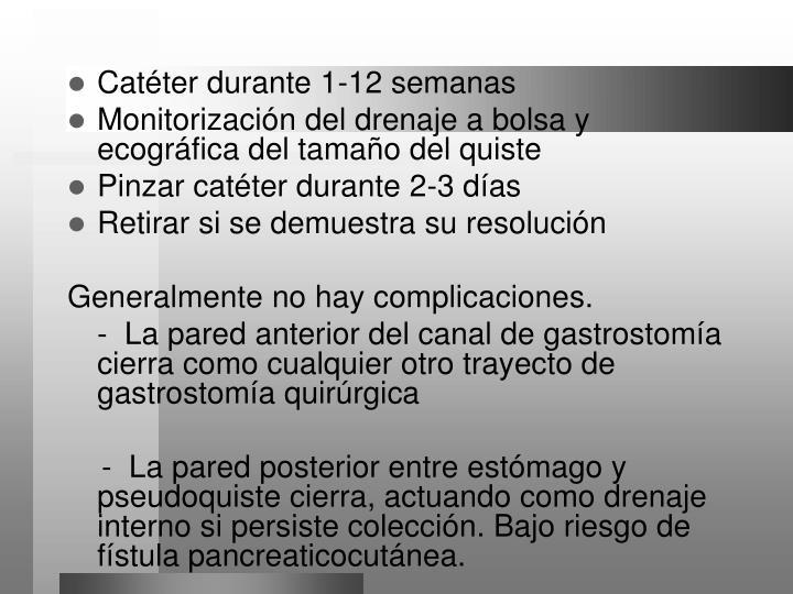 Catéter durante 1-12 semanas