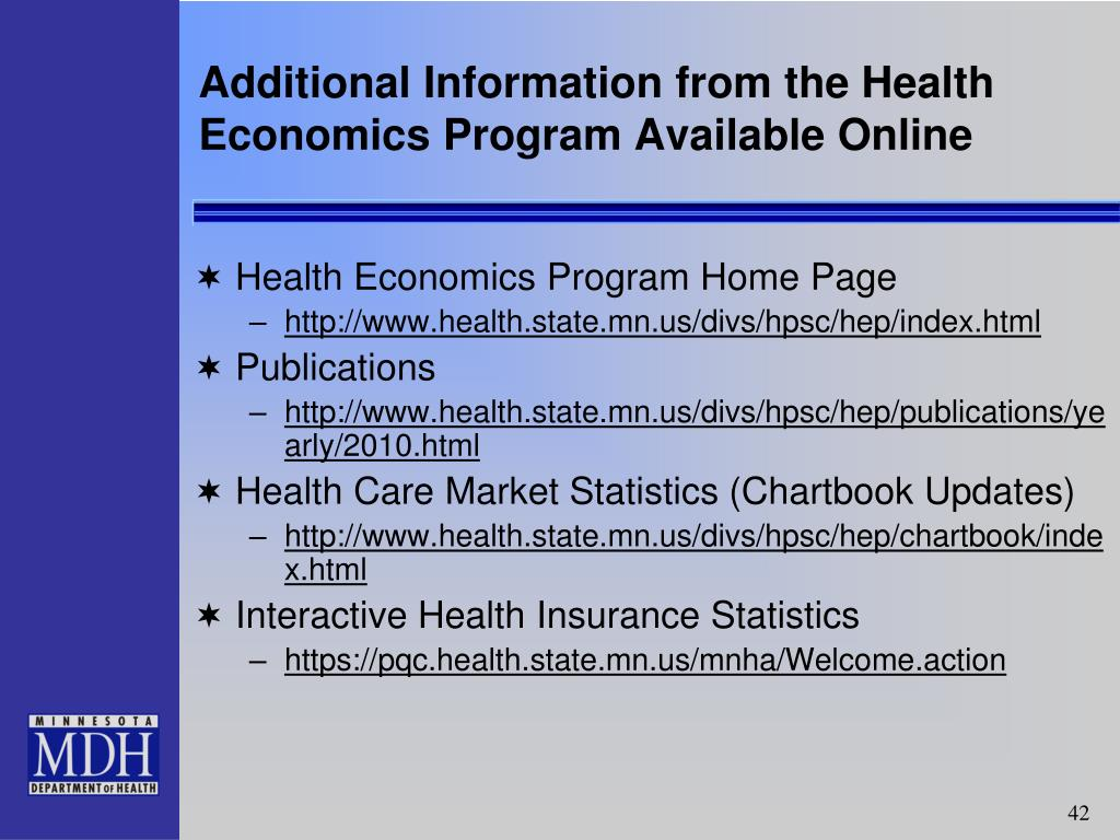 Additional Information from the Health Economics Program Available Online