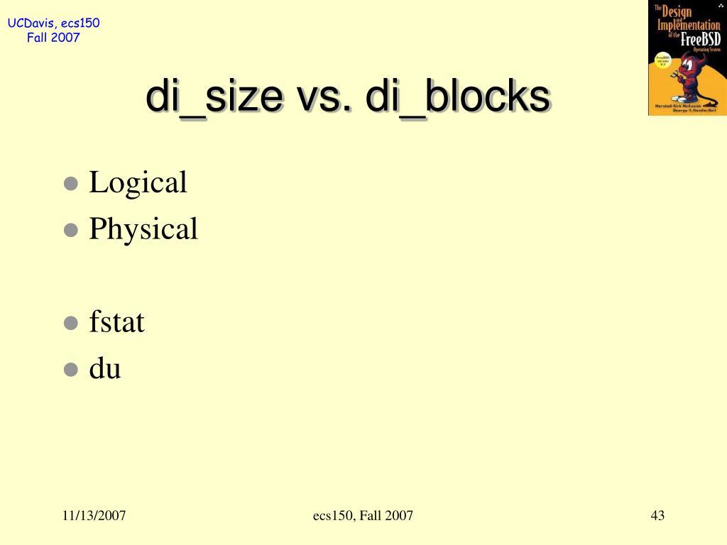 di_size vs. di_blocks