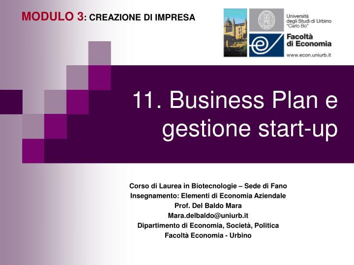 11 business plan e gestione start up