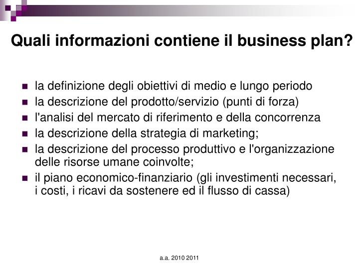 Quali informazioni contiene il business plan?