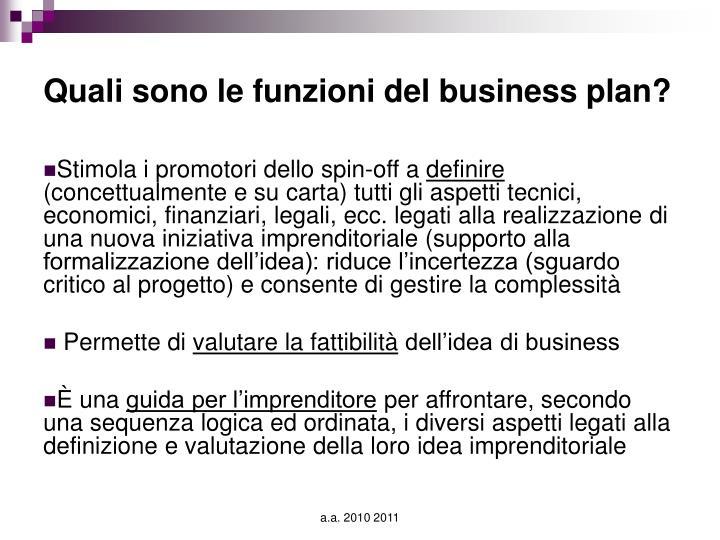 Quali sono le funzioni del business plan?