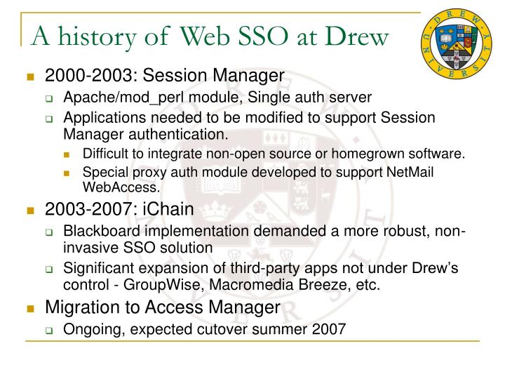 A history of web sso at drew