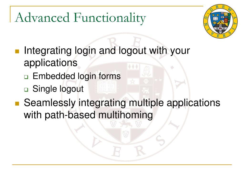 Advanced Functionality