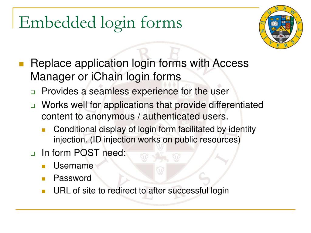 Embedded login forms