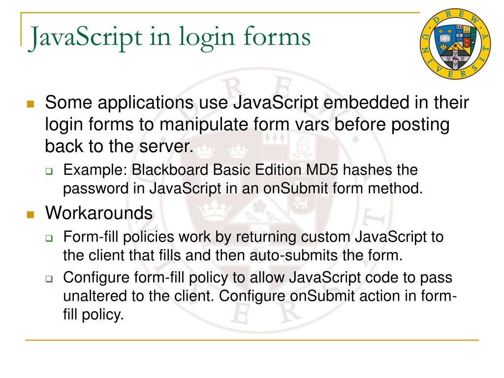 JavaScript in login forms