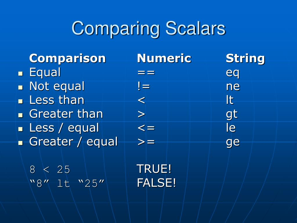 Comparing Scalars