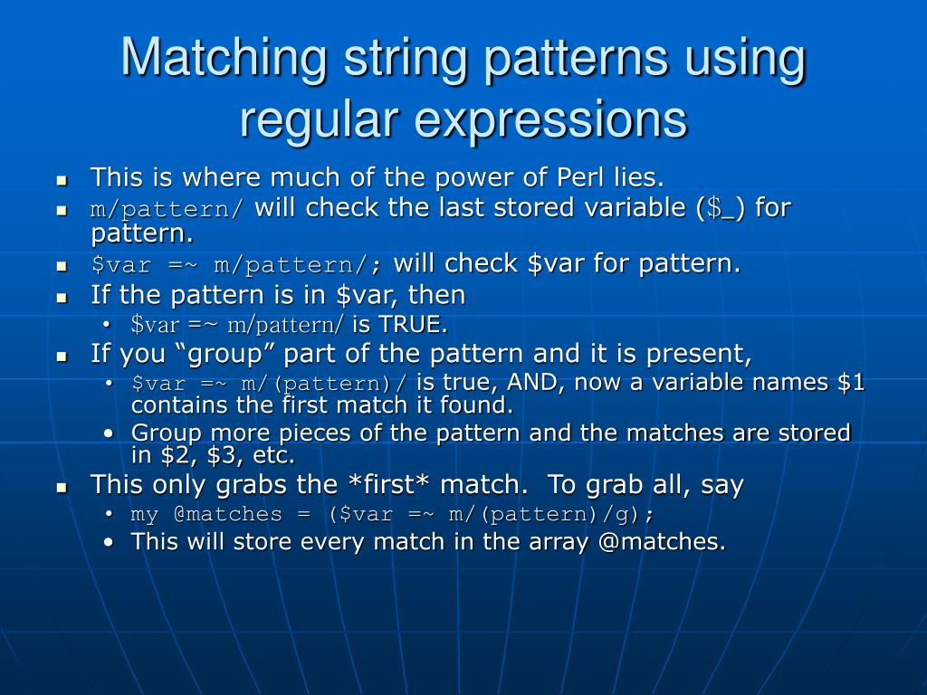 Matching string patterns using regular expressions