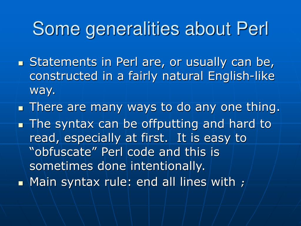 Some generalities about Perl