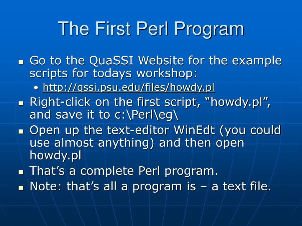 The First Perl Program