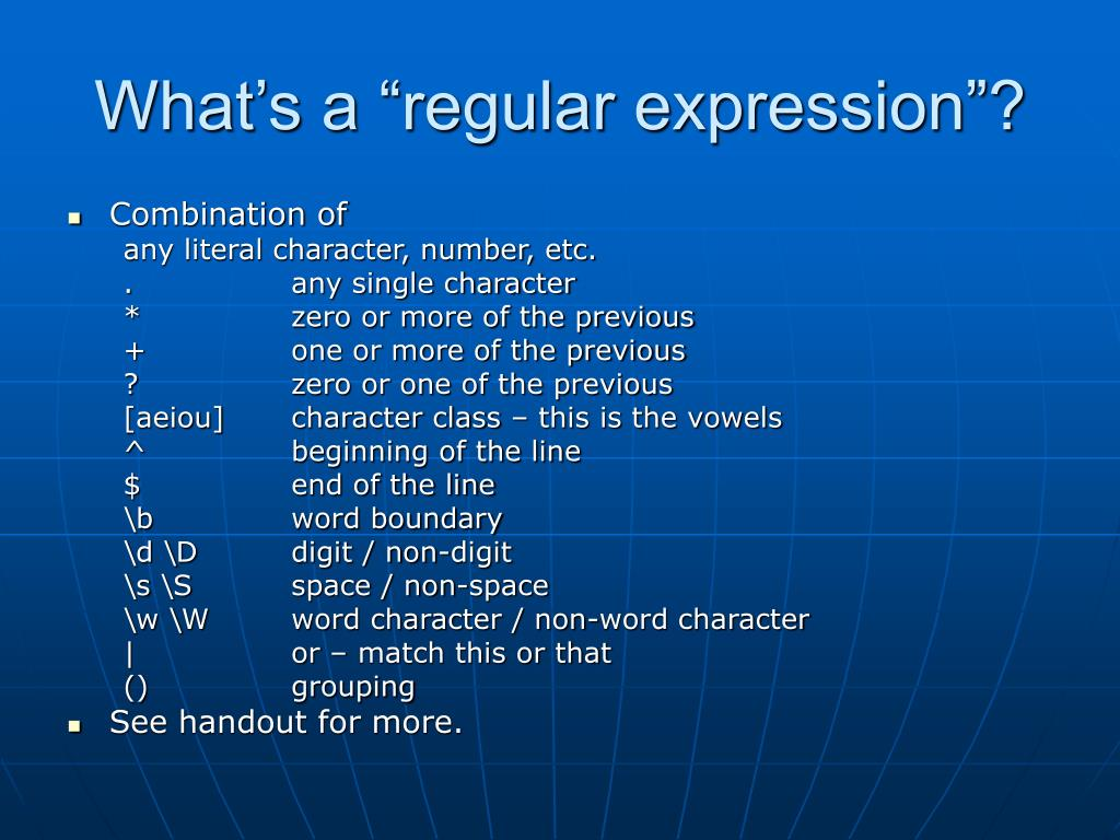 "What's a ""regular expression""?"