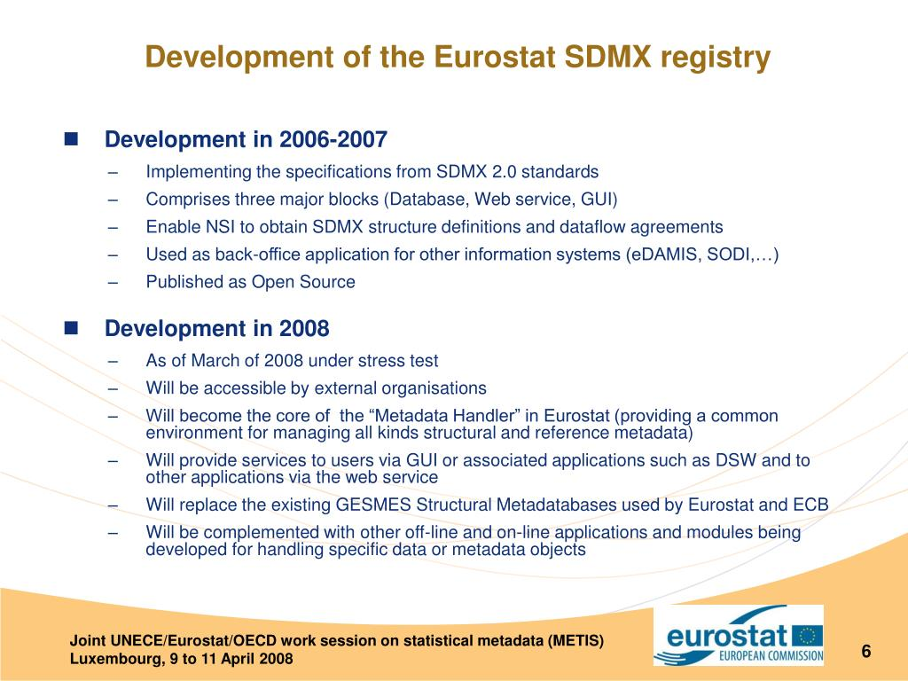Development of the Eurostat SDMX registry