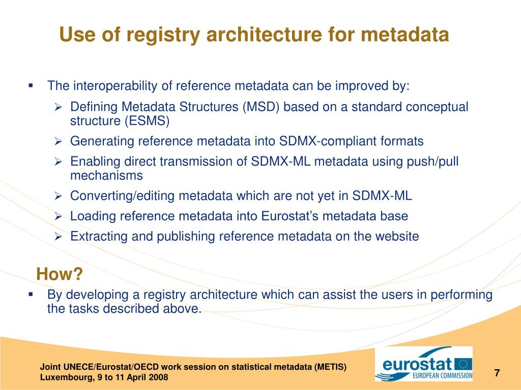The interoperability of reference metadata can be improved by: