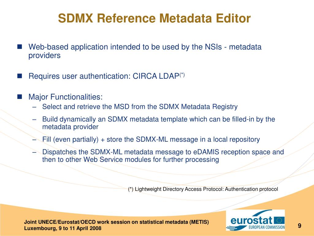Web-based application intended to be used by the NSIs - metadata providers