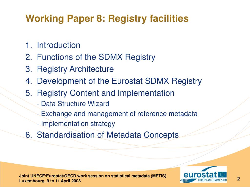 Working Paper 8: Registry facilities