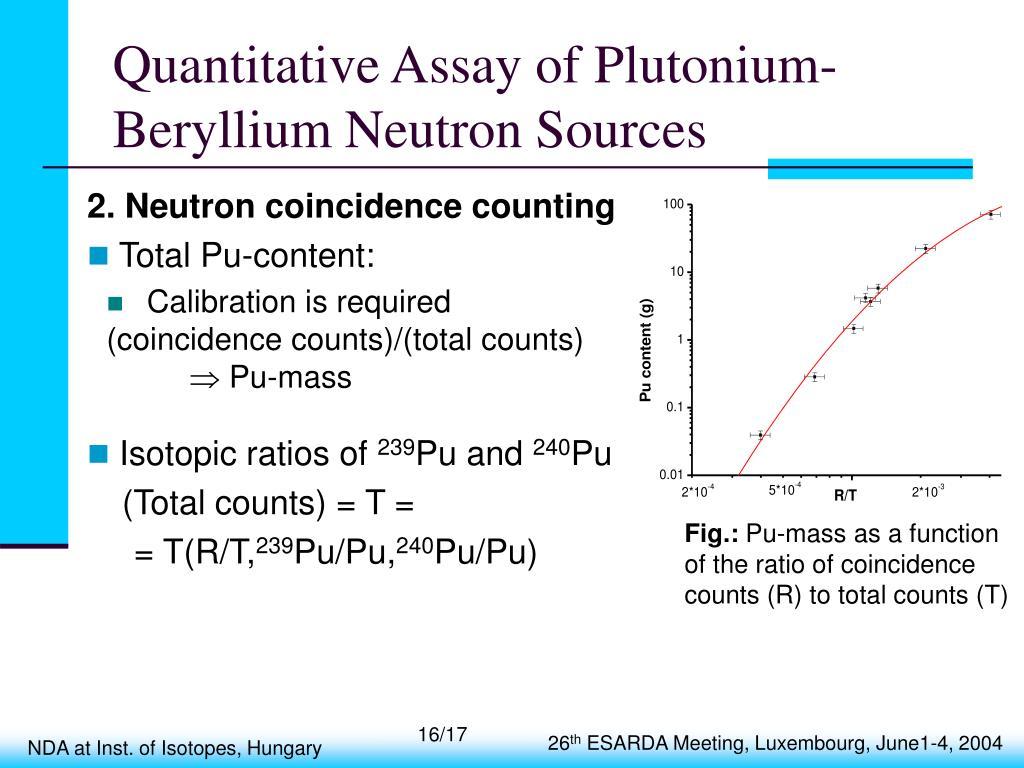 Quantitative Assay of Plutonium-Beryllium Neutron Sources