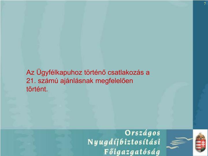 Az Ügyfélkapuhoz történő csatlakozás a 21. számú ajánlásnak megfelelően történt.