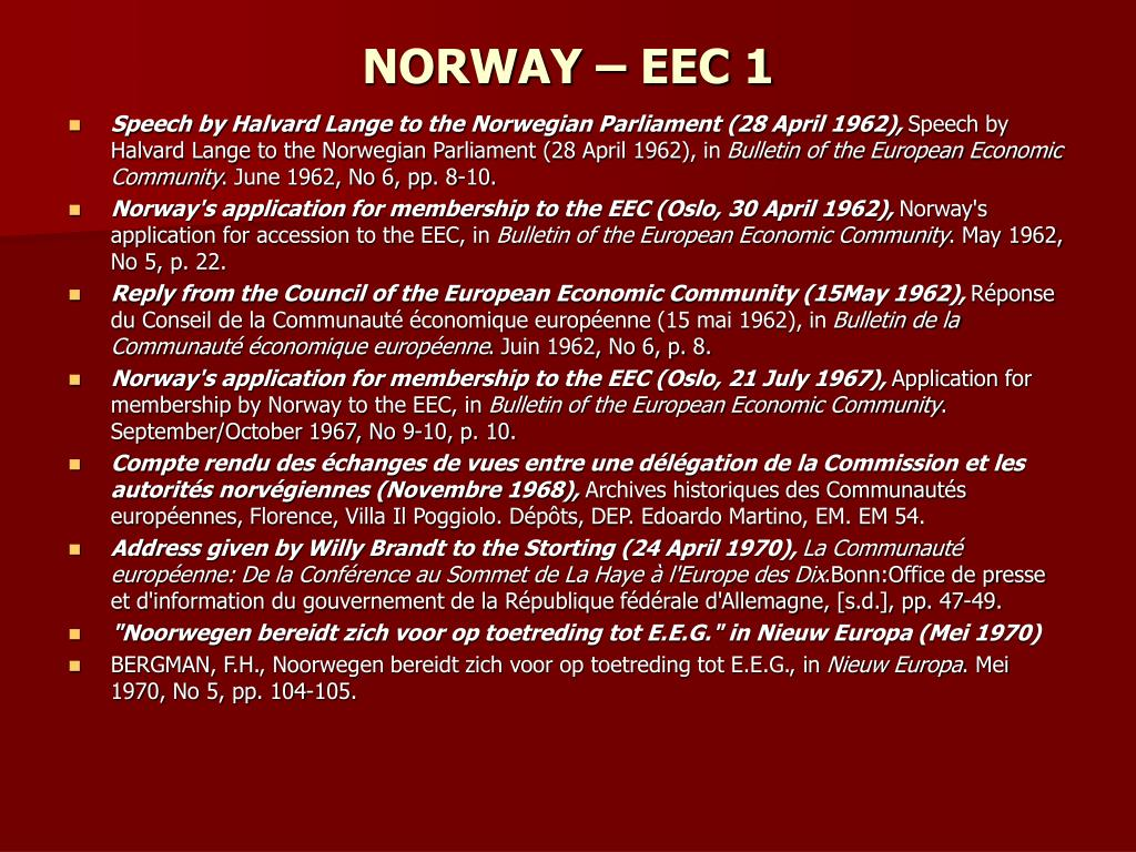 NORWAY – EEC 1