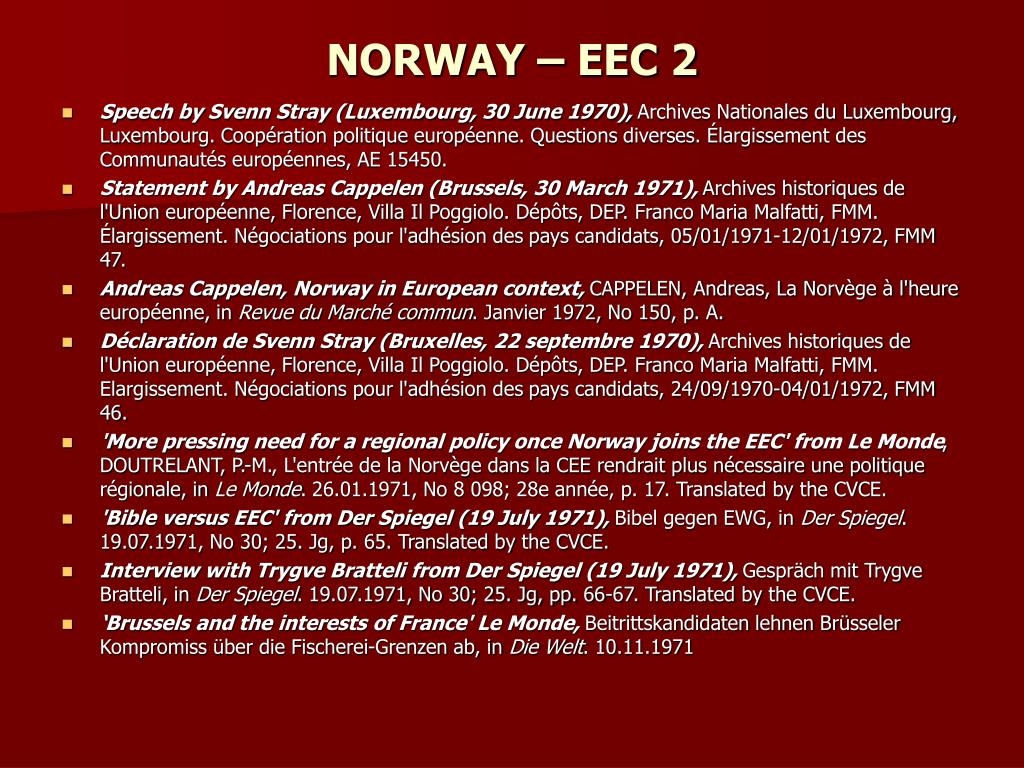 NORWAY – EEC 2