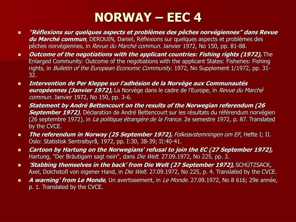 NORWAY – EEC 4