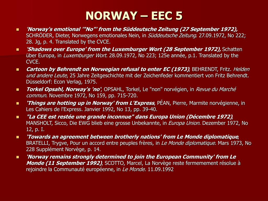 NORWAY – EEC 5