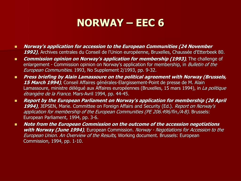 NORWAY – EEC 6