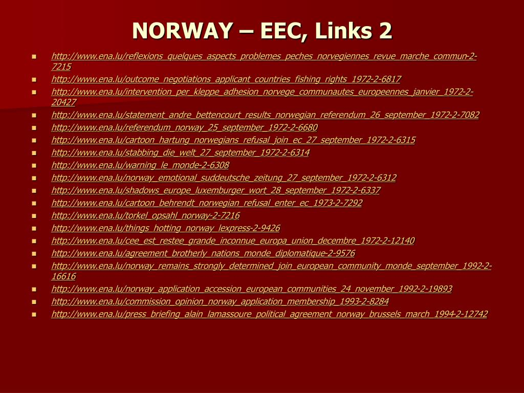 NORWAY – EEC, Links 2