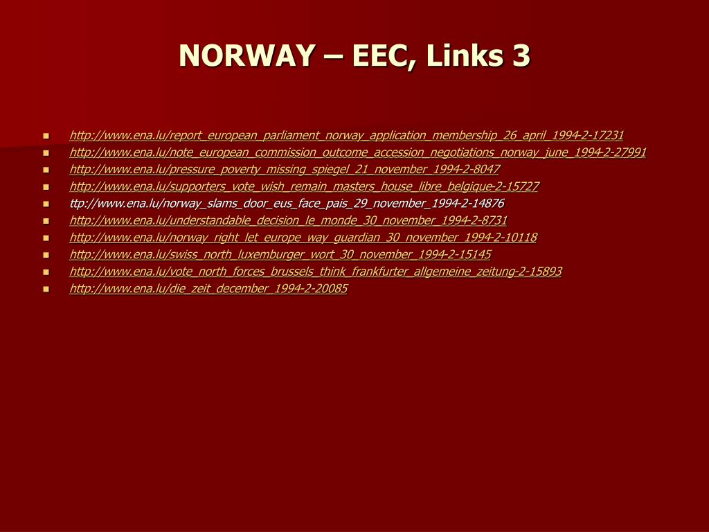 NORWAY – EEC, Links 3