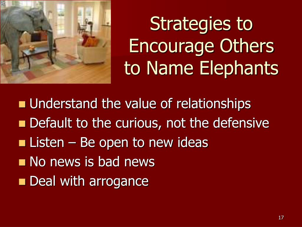 Strategies to Encourage Others to Name Elephants