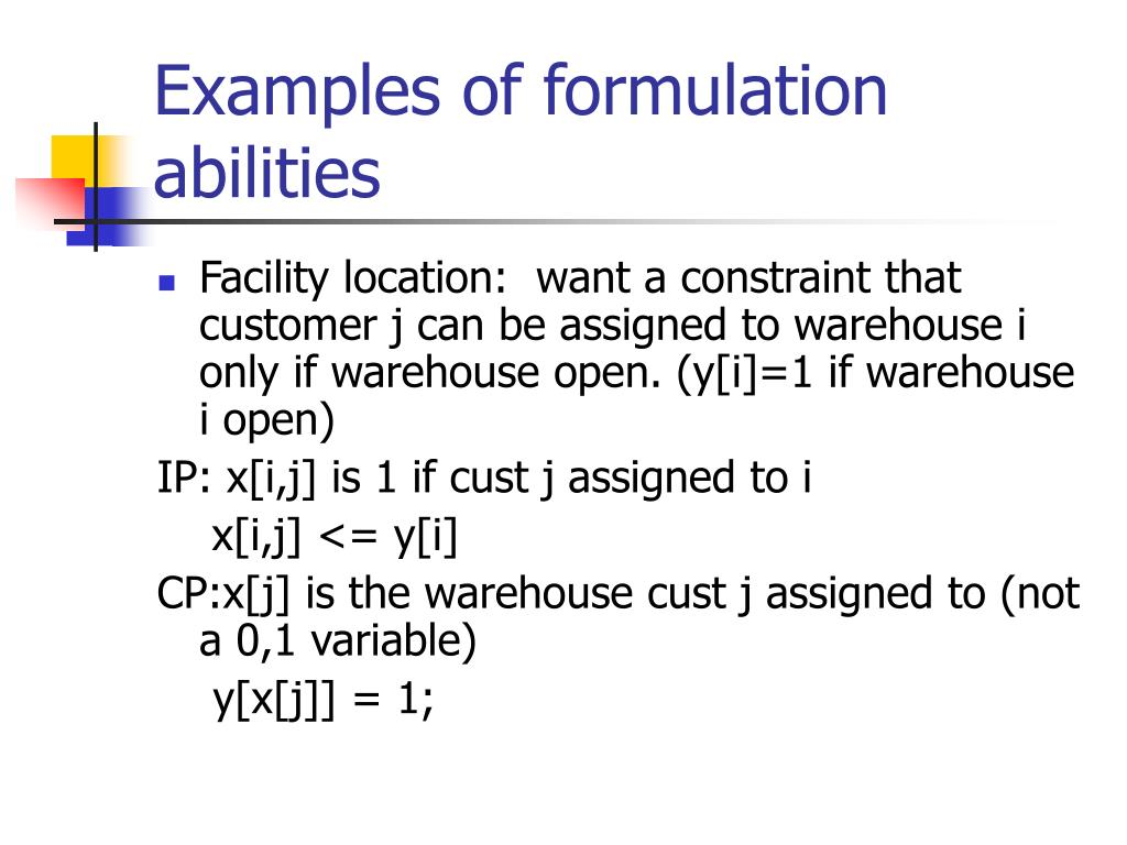 Examples of formulation abilities
