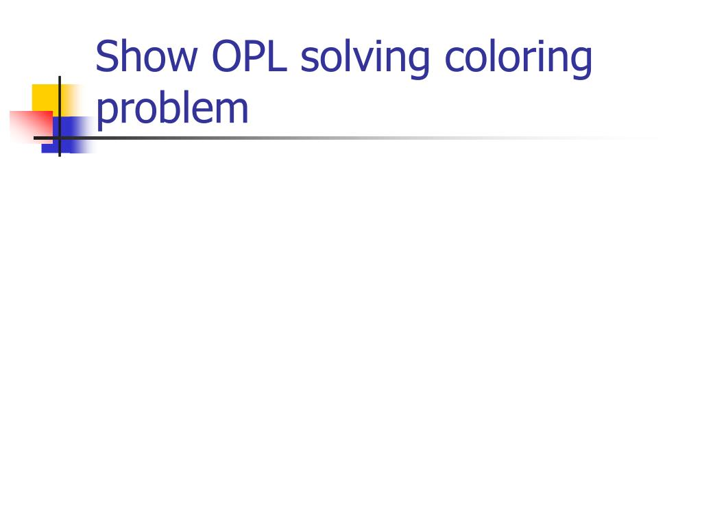 Show OPL solving coloring problem